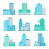 Medical building icons, illustration
