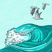 Ocean and sea gulls, illustration
