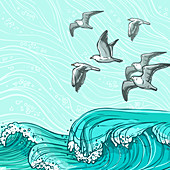 Ocean and sea gulls, illustration