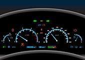 Car dashboard, illustration