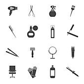 Hairdressing icons, illustration