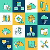 Computer network icons, illustration