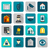 Home security icons, illustration
