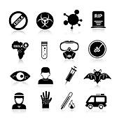 Ebola disease icons, illustration
