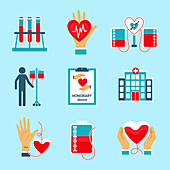 Blood donation icons, illustration