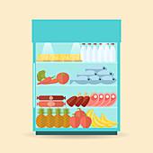 Supermarket chiller cabinet, illustration
