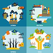 Environmental problems, illustration