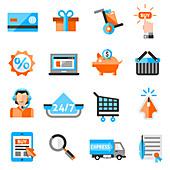 Online shopping icons, illustration