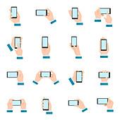 Mobile phone icons, illustration