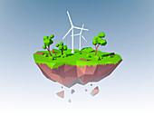Wind turbines, illustration