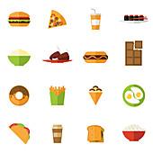 Fast food icons, illustration