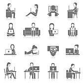 Computer use icons, illustration