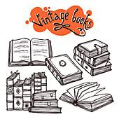Vintage books, illustration
