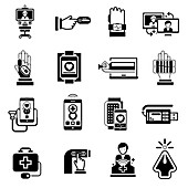 Digital medicine icons, illustration