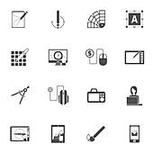 Graphic design icons, illustration