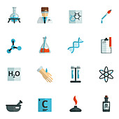 Chemistry and research icons, illustration
