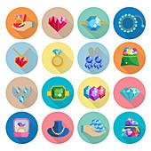 Gemstone icons, illustration