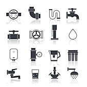 Water supply icons, illustration