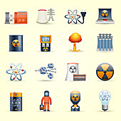 Nuclear energy icons, illustration