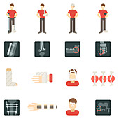 Bone fracture icons, illustration