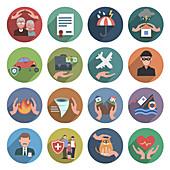 Insurance icons, illustration