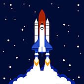 Space shuttle launch, illustration