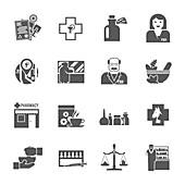 Pharmacy icons, illustration