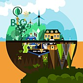 Pollution and green energy, illustration