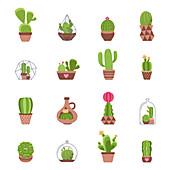 Cactus icons, illustration