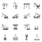Crane and lift icons, illustration