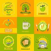 Organic food icons, illustration