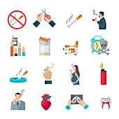 Smoking icons, illustration