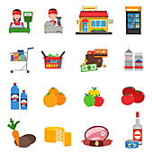 Supermarket icons, illustration