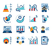 Data analysis icons, illustration