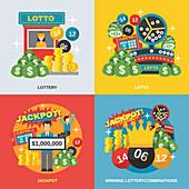 Gambling icons, illustration