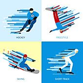 Winter sports, illustration