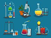 Laboratory icons, illustration