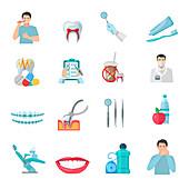 Dentistry icons, illustration