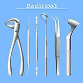 Dental tools, illustration
