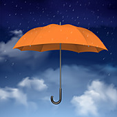 Open umbrella, illustration