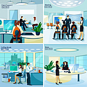 Office scenes, illustration