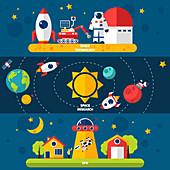 Space exploration, illustration