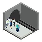 Underground train platform, illustration