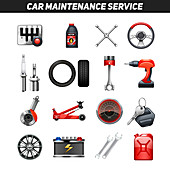 Car maintenance icons, illustration