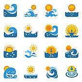 Sun and sea icons, illustration