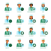Medical profession avatars, illustration