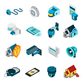 Security system icons, illustration