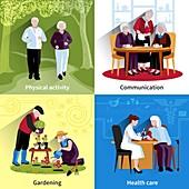 Healthy aging, illustration