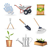 Gardening icons, illustration