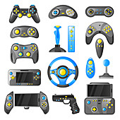 Video game controller icons, illustration